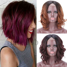 Fashion Black Ombre Bob Wig Glueless Lace Front Synthetic Hair Curly Wavy Wig b1