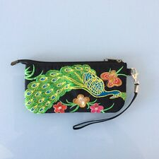Embroidered Peacock Clutch Wristlet Women Canvas Phone Bag Coin Purse Wallet