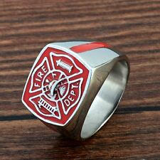 Vintage US Fire Fighter Stainless Steel Mens Ring Gothic Biker Jewelry Band Punk