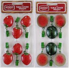 Midwest Grill Co. Set of 6 Patio Tablecloth Weights - Watermelon or Strawberries
