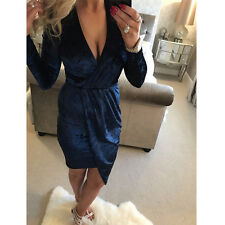 Sexy Women's Ladies Crushed Velvet V Neck Long Front Ruched Party Mini Dress