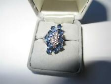 Cubic Zirconia & Simulated Sapphire Sterling Silver Cluster Cocktail Ring