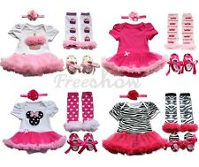 4 Pair Newborn Infant Baby Girl Romper Tutu Dress Sets Outfits Clothes Bodysuit