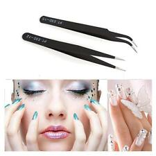Straight Curved Nail Art Eyelash Tweezers Nippers Pointed Clip Tool Set NEW Y2