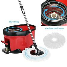 Stainless Steel 360° Spin Mop & Bucket Set Foot Pedal Rotating Floor Mop US N6F8