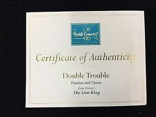 "WDCC Disney Certificate of Authenticity ""Double Trouble"" Pumbaa & Timon"