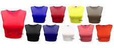Womens Crop Top Ladies Sleeveless Stretch Vest T Shirt Tee Sizes 8 10 12 14