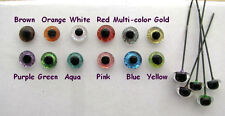12 PAIR 4mm to 8mm Glass Eyes on Wire Sparkle Colors teddy bears, Ooaks SRG-222