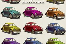 VW Official Licensed Volkswagen Beetle Bug Fabric 100% Cotton  Sold By The Metre
