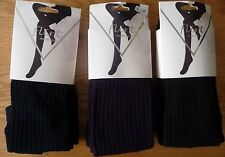 THICK & WARM ONE SIZE RIBBED TIGHTS DESIGNER HOSIERY BY FLIRT BLACK NAVY PURPLE