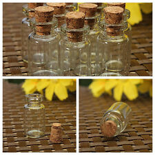 Clear Mini Small Cork Stopper Tiny Glass Vial Jars Containers Bottle Case Lot
