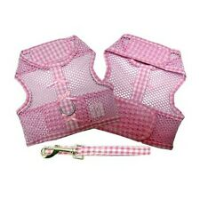 Pink Gingham & Bows Cool Mesh Netted Dog Harness & Leash