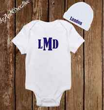 Personalized Monogram Cute Baby Boy Clothes Onesies Hat / Beanie Shower Gift Set