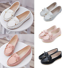 New Womens Bowknot Flat Loafers Moccasins Casual Ballet Comfort Boat Shoes IAU