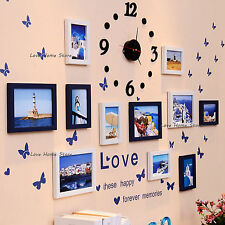 Photo Frame Display Wall 3D Clock Time Home Hanging 11 Picture Family Decoration