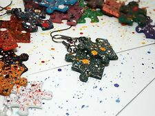 Autism awareness jewelry eco friendly Jigsaw Puzzle piece earrings hand painted