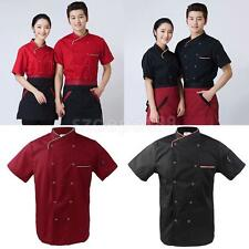 Chef Apparel Unisex Short Sleeve Chef Jacket Coat Restaurant Cook Uniform