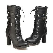 Womens High Heel Buckle Rivet Lace Up Zipper Mid Calf Boots Gothic Shoes Size 43