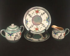 4-Piece Floral Opalescent Set of 2 Plates, Sugar Bowl & Creamer Made in Japan