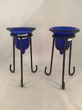 "Set of 2 New Blue Glass Candle Holders with Wrought Iron Stands 8"" Tall 3"" Dia"