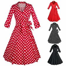 Vintage 50s 60s OL Lady Polka Dots Rockabilly Swing Housewife Party Prom Dress