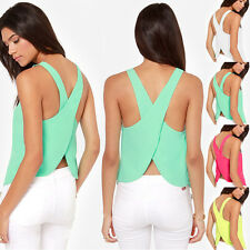 Womens Sexy Chiffon Backless Strap Blouse Shirts Tank Top Cami Vest Summer Top