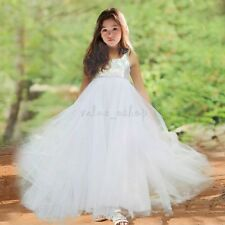 Kids Girl Princess Flower Sequined Birthday Gown Party Prom Formal Wedding Dress