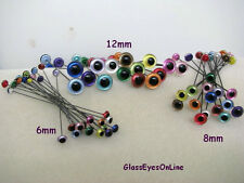 6 PAIR 4mm to 8mm Glass Eyes on Wire Iridescent Colors teddy bears  (IR-222)