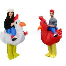 Adult Rooster Rider Chicken Inflatable Costume Blowup Outfit Fancy Dress