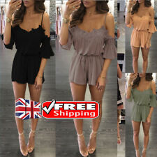 Sexy Lady V Neck Romper Lace Mini Shorts Strappy Off Shoulder  Playsuit Jumpsuit