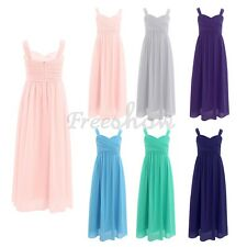 Kids Girls Chiffon Dress Wedding Formal Graduation Party Princess Dress SZ4-14