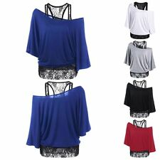 Sexy Women Off Shoulder Summer Lace Tank Blouse Vest Casual Street Batwing Shirt