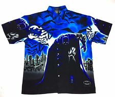"2001 Batman ""Bats"" Button Down T-shirt Official Adult Black/Blue NWT size L"