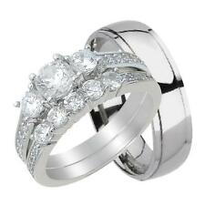 His and Hers Wedding Ring Set 3 PCS Matching Couples Rings for Him Her