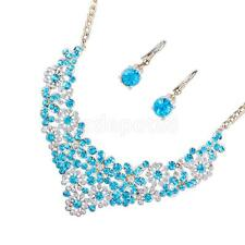 Women Red Blue Crystal Rhinestone Necklace Earring Wedding Bridal Jewelry Set