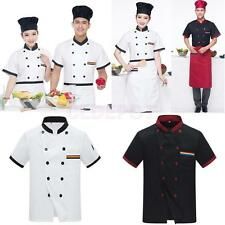 Unisex Pen Pocket Short Sleeve Double Breasted Five Star Chefs Jacket Coat