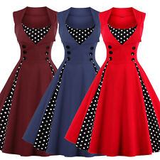 Plus Size Womens Vintage 1950s Rockabilly Casual Evening Party Swing Pinup Dress