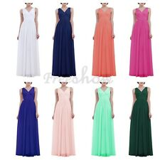 Womens Ladies Deep V Neck Bridesmaid Chiffon Gown Ruffle Summer Maxi Dress