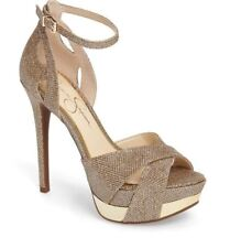 Jessica Simpson Wendah Platform Pump Gold Mesh Ankle Strap Open Toe Shoes