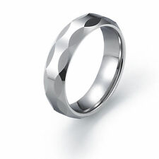6mm Tungsten Carbide Ring Wave shaped faceted Tungsten Ring Comfort Fit SZ 6-12