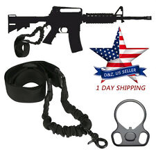 For AR 15 Single Point Sling + Adapter Plate Mount COMBO Rifle Tactical Bungee