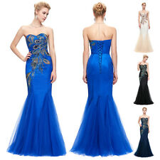 PEACOCK Mermaid Wedding Long Dress Prom Evening Party Ball Gown Festival Pageant