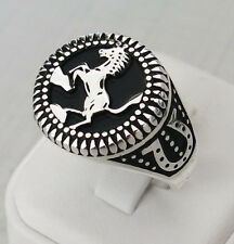 Handmade 925 Sterling Silver Horse & Horseshoe Silver Men's Woman's Ring 2