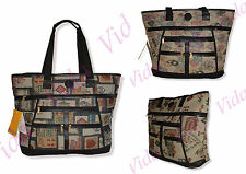Tapestry Style Shopping Bag Zip up with Pockets. Long Handles.