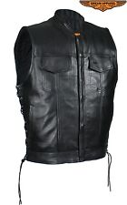 Mens Motorcycle Genuine Naked Cowhide Leather Gun Pocket Vest with Side Laces