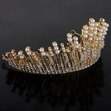 Bridal Wedding Crown Veil Pageant Homecoming Prom Pearl Crystal Tiaras