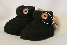 Boys Black Baby booties with button strap~Handmade, crochet Newborn, 0-3,3-6 mos