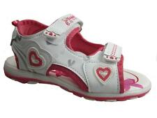 GIRLS TEDDY BEAR VELCRO SANDALS WHITE PINK SIZE 8-13 NEW