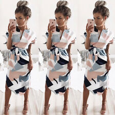 Lady Geometric Printed Summer Short Sleeve Dresses Party Cocktail Mini Dress New