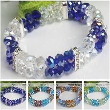 Fashion Womens Faceted Abacus Rondelle Crystal Glass Bead Spacer Bangle Bracelet